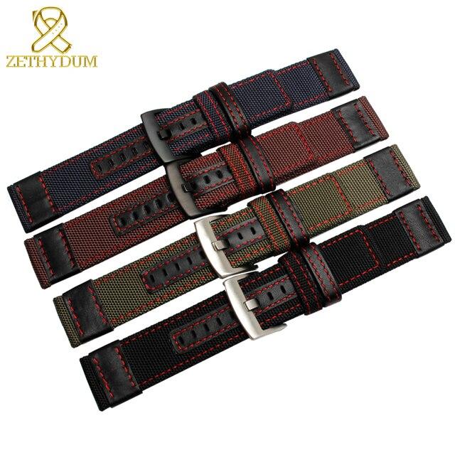 À prova dwaterproof água náilon pulseira de relógio 22 24mm pulseiras banda inferior é pulseira de couro genuíno seco e confortável alça de náilon