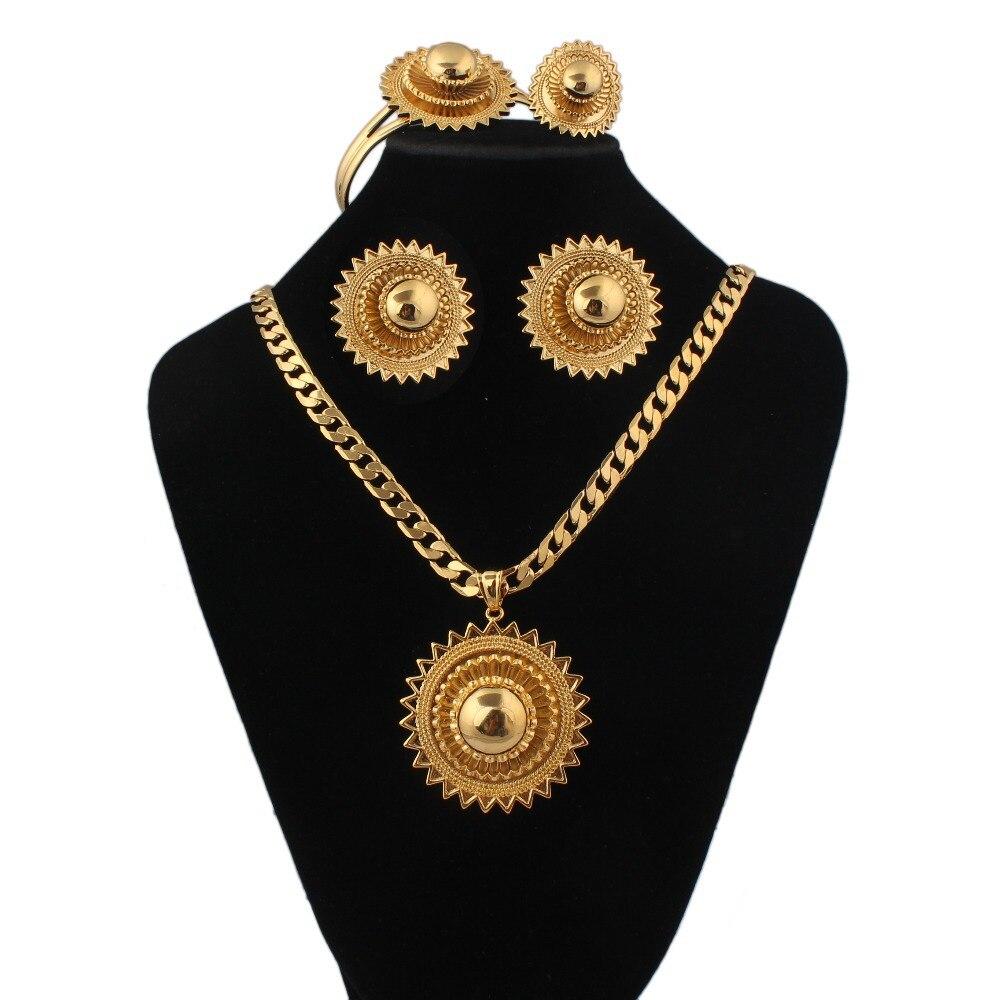 Ensembles de bijoux de mariage éthiopiens boucles d'oreilles + bague + pendentif + bracelet bijoux remplis d'or ensembles de bijoux de mariée africaine/soudan/Nigeria/Kenya