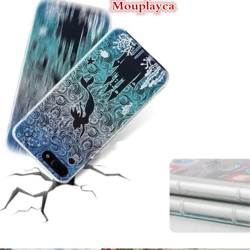 Mouplayca cartoon Alice cases for apple iphone 7 iphone7mermaid Cover Drop resistance phone case for iphone7plus capa fundas