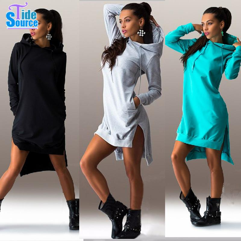 2017 Hot Western Style Cotton Winter Fall Dress Long Sleeve Pocket Casual Dresses With A Hood 3 Colors Loose Vestidos In From Women S Clothing