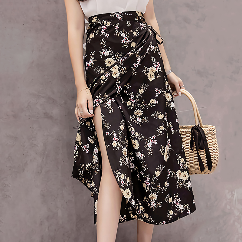Summer Print Flower Chiffon Women Skirt Kawaii Korean Casual Empire Skirts Harajuku Mid-Calf Bow Cute High Waist Vintage Skirts