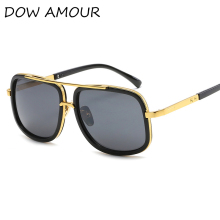 DOW AMOUR  Big Frame Square Fashion Sunglasses Men SteanPunk Sun Glasses Women Brand Designer Eyewear Men