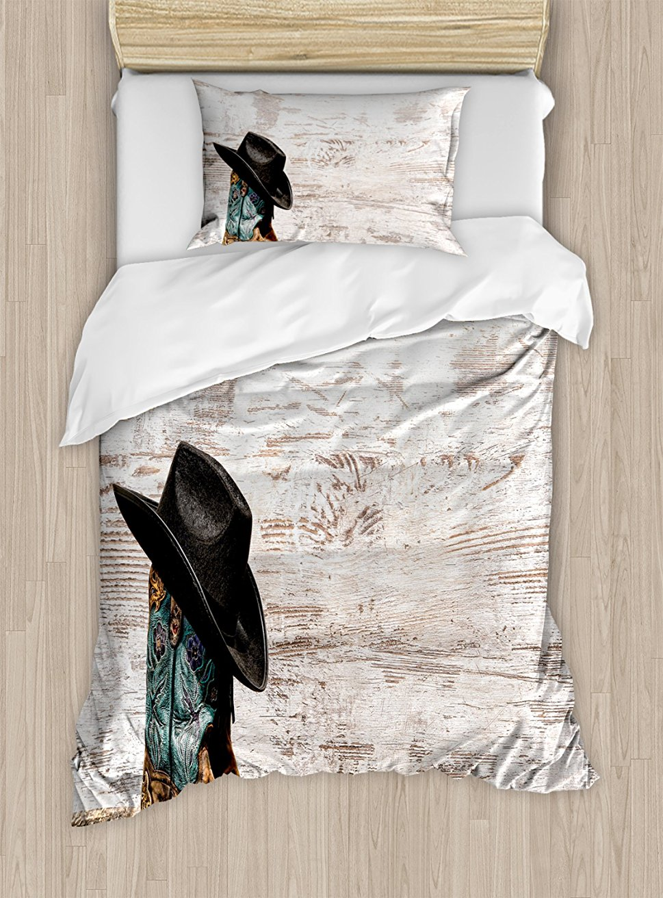 Western Duvet Cover Set Traditional Rodeo Cowboy Hat And Cowgirl Boots Retro Grunge Background Decorative 4 Piece Bedding Set