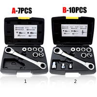 7/10pcs Ratchet Wrench Set Double Head Socket Wrench Metric Auto Repair Tools with Box