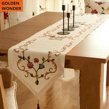 Modern Fashion Luxury Embroidered Table Runner Wedding Decoration High Quality Cotton Runners With Flowers
