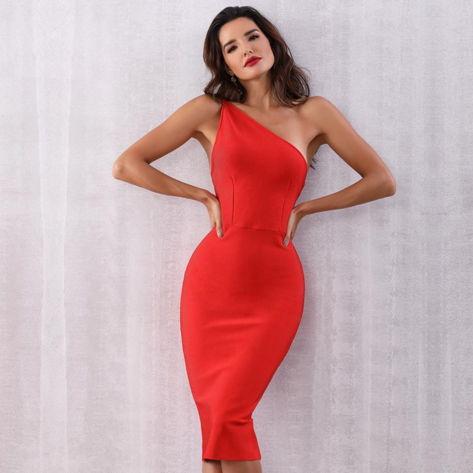 New Celebrity Party Bandage Dress Women Red Sleeveless One Shoulder Sexy Night Out Club Backless Dress Women Vestidos Wholesale