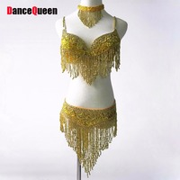 2017 תלבושות ריקודי בטן נשים 3 יחידות (חזייה + חגורה + שרשרת) במזרח בגדי סגנון Beadings צועני שבטית ההודי בוליווד DanceWear