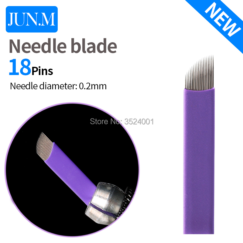 500pcs box Super sharp Tattoo Needle Accessories Permanent Makeup Sterilized Purple 18pins Microblading Blade For Eyebrow