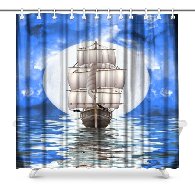Abandoned Old Pirate Ship In Fantasy Landscape Art Decor Polyester Fabric  Waterproof Shower Curtain Extra Long
