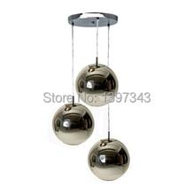Wunderland 3 Köpfe Mode Moderne Italian Kupfer/Silber Glas Spiegel Schatten Ball Lampe Pendelleuchte Design Schlafzimmer Bar hause