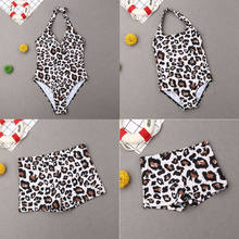 Fashion leopard family matching swimsuit father son mother daughter sexy bikini parent-child swimsuit beachwear(China)