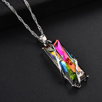 New 1pcs Hot sale Jewelry Rainbow Crystal Glass Leaves Square Pendant Necklaces For Women