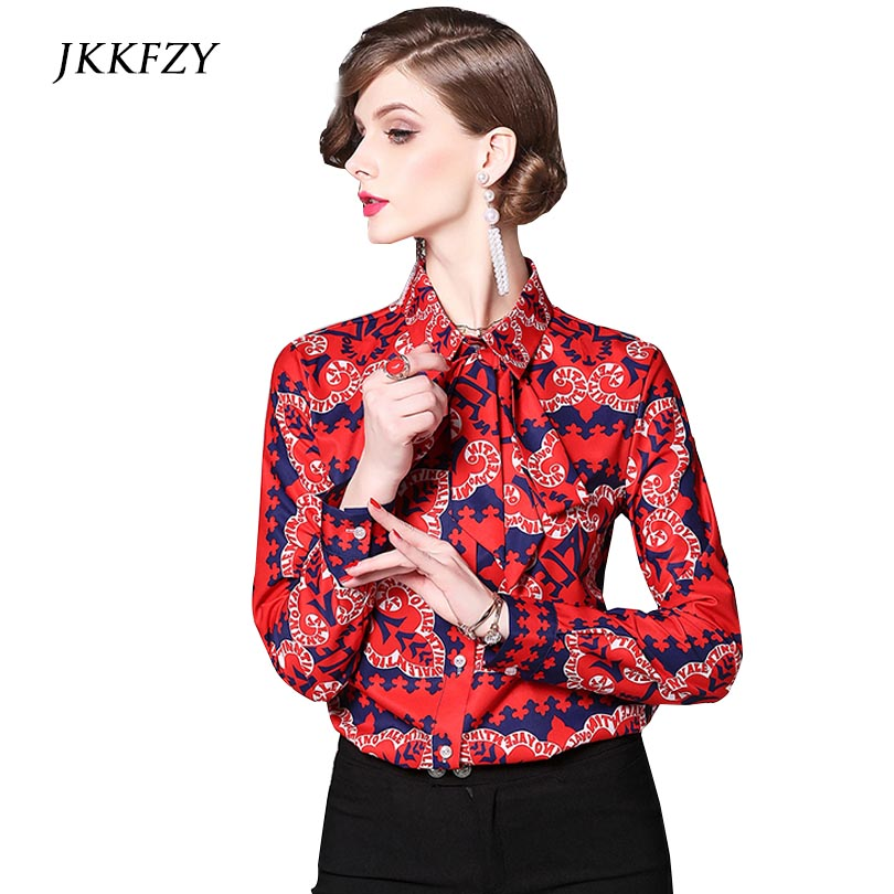High Quality Runway Womens Blouses Ladies Fashion Print Shirt Female Red Tops Price $22.19