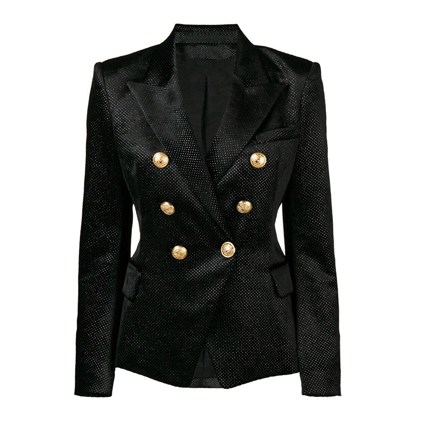 HIGH QUALITY New Fashion 2019 Designer Blazer Women's Double Breasted Silver Lion Buttons Glitter Velvet Blazer Jacket