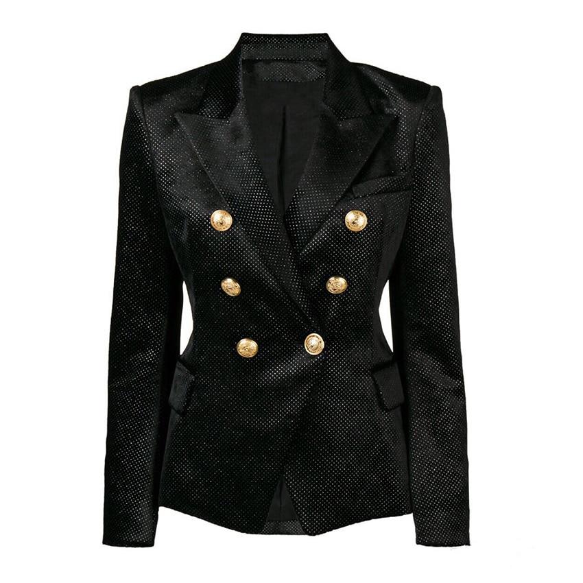 HIGH QUALITY New Fashion 2020 Designer Blazer Women's Double Breasted Silver Lion Buttons Glitter Velvet Blazer Jacket