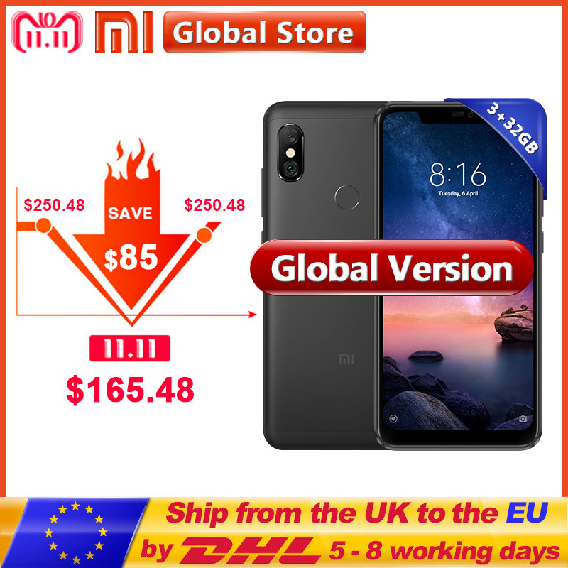 Versión Global Xiaomi Redmi Note 6 Pro 3 GB 32 GB de RAM ROM Snapdragon 636 Octa Core 4000 mAh 6,26 pulgadas 12MP + 5MP Cámara Dual