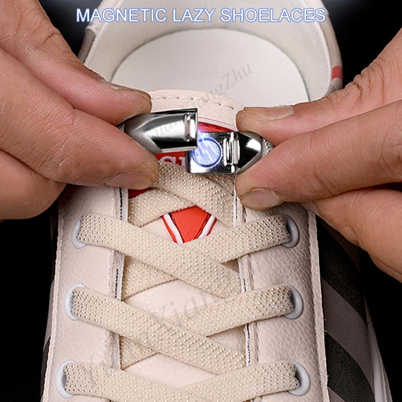 1Pair Elastic Magnetic 1Second Locking ShoeLaces Creative Quick No Tie Shoe laces Kids Adult Unisex Shoelace Sneakers Shoe Laces
