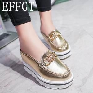 bdd5acef8bd EFFGT 2018 woman mules sandals Platform shoes slipper