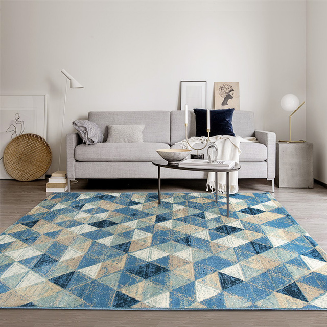nordic style mediterranean blue geometric bedside carpet 160 230 cm living room coffee table. Black Bedroom Furniture Sets. Home Design Ideas