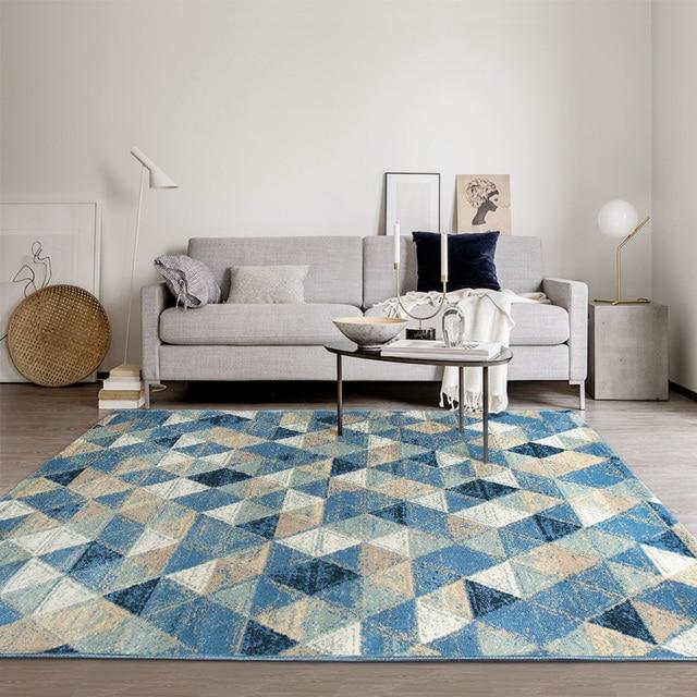 Tapis Geometrique Bleu Mediterraneen De Chevet Style Nordique Tapis Table Basse Salon 160 230 Cm Sol Grande Taille