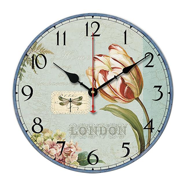 *Retro European-style Wall Clock PVC Wood Grain Material Clock Creative Silence Wall Clock Garden Simple Classical Living Room