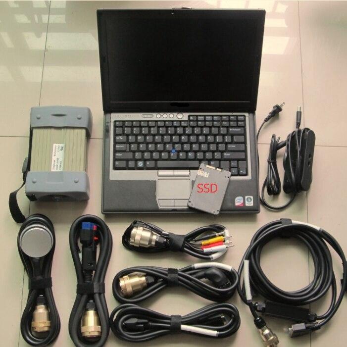 Multiplexeur rouge mb star c3 avec 7 câbles avec le plus récent logiciel 120 gb ordinateur portable ssd dell d630 avec diagnostic de batterie super vitesse