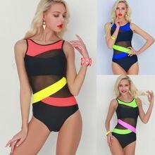 Female Multi-color Monokini One Piece Cut-out Bikini Summer Sexy Women's Swimsuit Suit Striped Bathing Suit 2019 Newest item