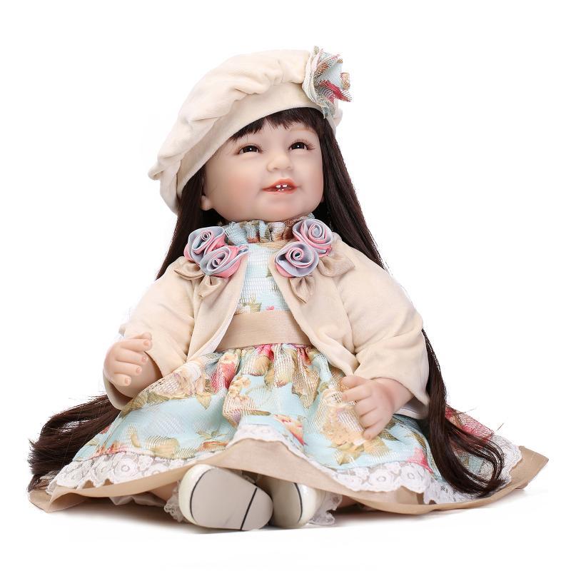 22 Reborn Baby Dolls Girls Toy Silicone Vinyl Newborn Lifelike Smile Baby Princess Long Hair Dolls Kid Birthday Wedding Gifts