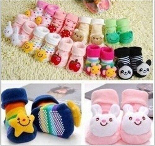 2015 Cute Newborn Lovely Baby Girl Boy Anti-slip Socks Cartoon Animal Socks 0-12 Months Freeshipping
