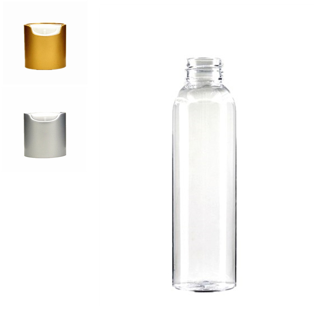 Empty 120ml Plastic Clear  Cosmo Round Bottles, Transparent PET Bottle With White Brushed Aluminum Shell  Disc-top Cap