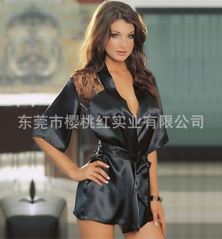 a5b5c584f1 Hello Betty Free Shipping Lingerie black roses home robe in Europe and the  sexy mlace bathrobe -in Nightgowns   Sleepshirts from Underwear    Sleepwears on ...