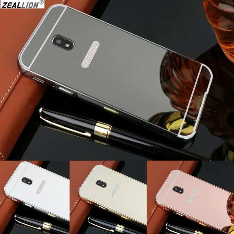 ZEALLION For Samsung J3 J5 J7 A3 A5 A7 2016 2017 EU A8 A9 Luxury Case 2 in 1 Plating Aluminum Mirror Frame + Hard PC Case Cover