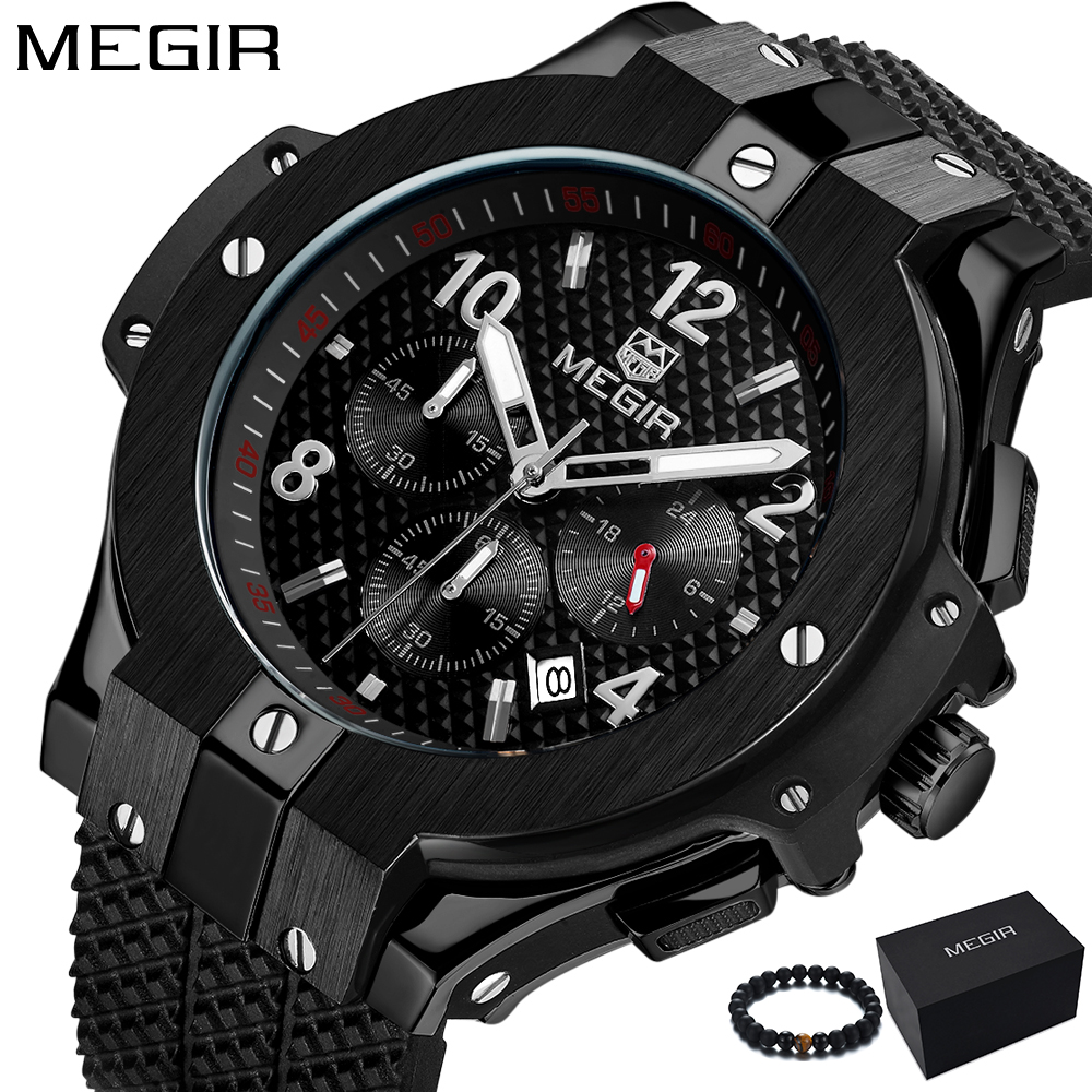 Megir Watches Men 2018 Brand Luxury Quartz Watch Big Dial Black Silicone Waterproof Sport Military Wrist Watch Relogio Masculino