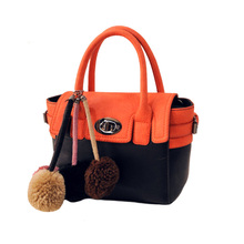 Fashion Contrast Color Fur Balls Handbag Women Trendy Casual Twist Lock Flap Bag Ladies Designer Casual Small Shoulder Bag