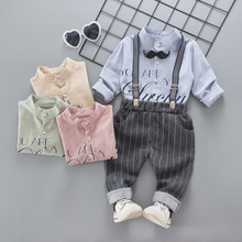 2018 new baby boy spring fall clothing set gentleman style handsome suits shirts+pants kids boys clothes sets