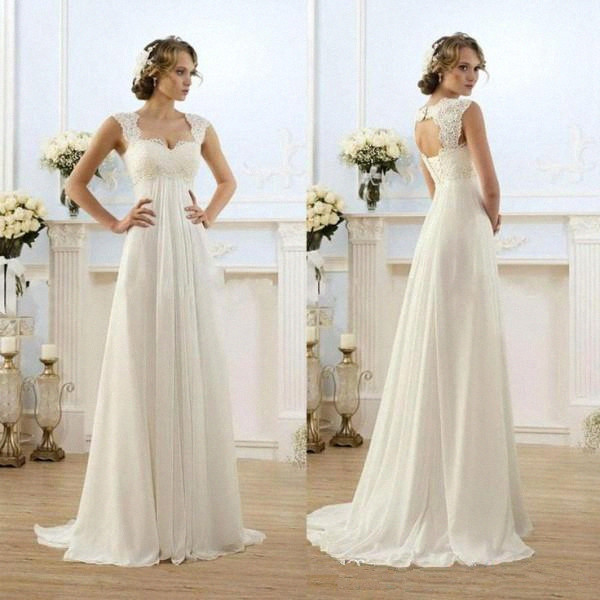Vintage Modest Wedding Gowns Capped Sleeves Empire Waist Plus Size Pregant Maternity Dresses Beach Chiffon Country Style Bridal