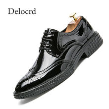 New Fashion Men Bullock Patent Leather Shoes Pointed Toe Carving Oxford Shoes For Men Wedding Party Shoes Platform Male Footwear