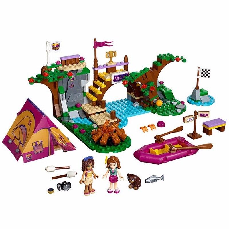 325 pcs bricks Friends Adventure Camp Rafting Building Blocks Set Model Toys Friends Brick Girl Toys