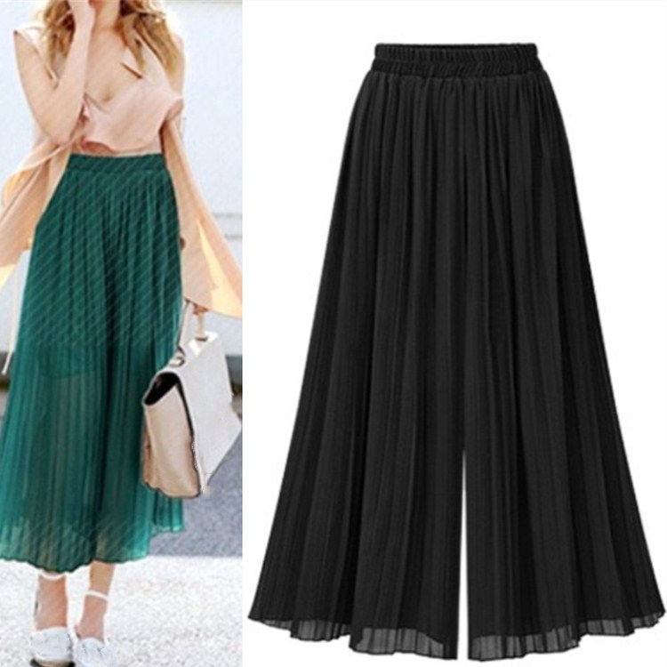 Chiffon High Waist Women Summer Elastic Loose Solid   Pants   Vintage Boho Female Beach Green Trousers Casual Pleated   Wide     Leg     Pants