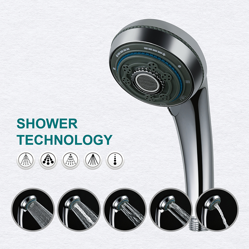 LOY 5 Function Adjustable Jetting Shower Filter High Pressure Water Saving Shower Head Handheld Water Saving Shower Nozzle <font><b>21006</b></font> image