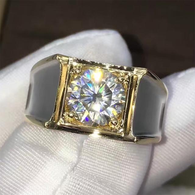 Men 2CT Lab Grown Moissanite Diamond 14K 585 White Gold Ring