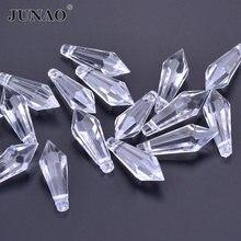 JUNAO, 20 шт., 10*30 мм, прозрачные кристаллы, швейные стразы в виде капли, белые акриловые бусины, гирлянда, висячие, вечерние, свадебные