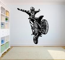 Autocollants muraux en vinyle en Motocross, autocollants sportifs, moto tout terrain pour sportifs, décalcomanies murales pour dortoir et chambre à coucher pour jeunes