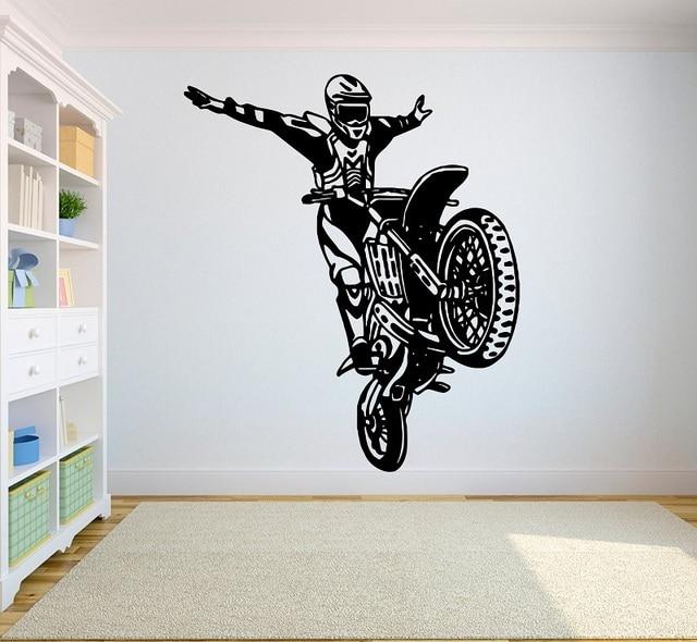 Motocross vinyl wand aufkleber sport off road motorrad sport athleten jugend schlafsaal schlafzimmer home dekoration wand abziehbilder CE5