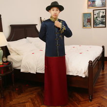 2017 Spring & summer Special Fashion show chinese male Traditional bridegroom Suit style wedding long dragon gown Robe