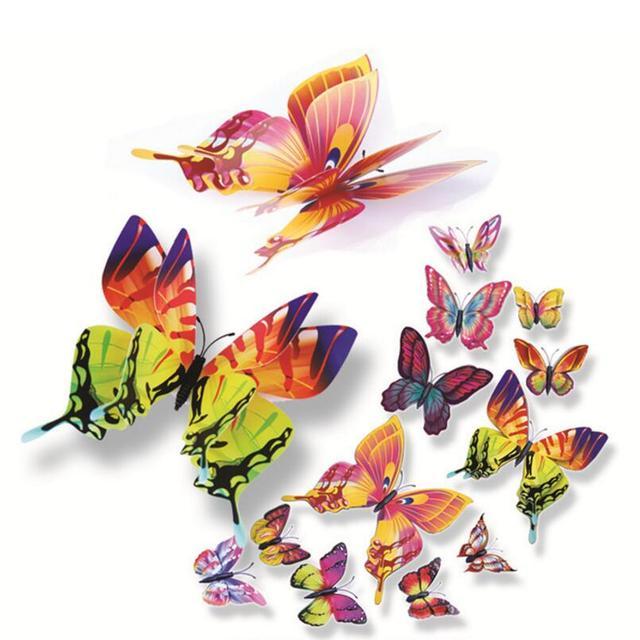 12 pcs Decoração Da Casa 3d butterfly adesivos de Parede etiqueta da janela do quarto Home decor DIY Wallpaper Art Decalques Frigorífico Ímãs