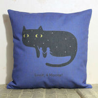 LINKWELL 18 X18 Cartoon Cute Blue Black Cat And Moon Burlap Pillow Cover Cushion Case For