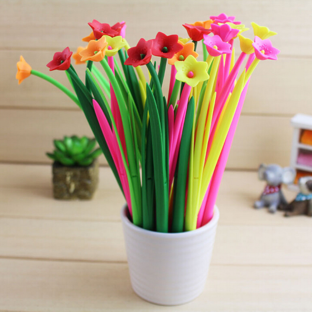 1Pcs Black Ink Bloom Floral Flowers Design Gel Pen Ballpoint Kawaii ...