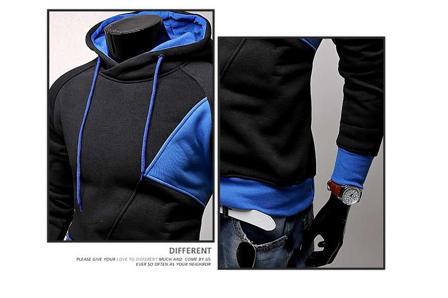 spring and autumn new hoodie men's matching color patchwork jumper Korean version of men's coat 50