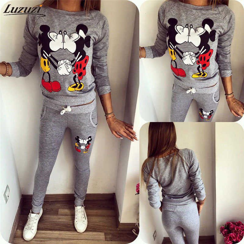 Luzuzi 2019 Zomer Vrouwen Tweedelige Set Lange Mouwen KUS Mickey & Minnie Print Sweatshirts Sets trui fleece Trainingspakken CR6590